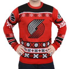 Klew Portland Trail Blazers Red Thematic Ugly Sweater