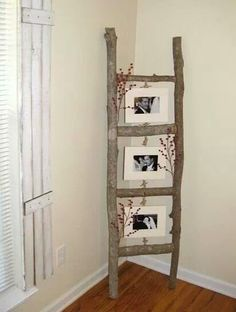 Rustic Picture Frame. Or blanket ladder with same concept...