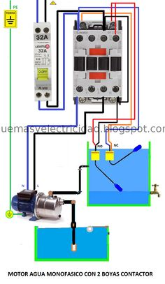 Single-phase water motor with 2 contactor buoys Electrical Panel Wiring, Electrical Circuit Diagram, Electrical Plan, Electrical Projects, Electrical Installation, Electronics Mini Projects, Electronic Circuit Projects, Electronic Engineering, Electrical Engineering