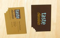 Business Card Design: Taste Chocolate - Business Card Design Here's another idea....use the gold from our logo to color the other side of the card...