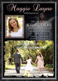 LDS Baptism Invitation Girls Personalized custom photo Invite Printable Digital File Announcement Latter Day Saints. $14.98