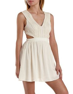Cut-Out Crocheted Lace Skater Dress: Charlotte Russe #dress