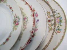 Items similar to 4 Mismatched Vintage China Weddings Dinner Plates Bridal/Tea Party on Etsy Wedding Dinner Plates, Tea Party Wedding, Dinner Plate Sets, Vintage Plates, Vintage China, Antique China, Mismatched China, Bridal Luncheon, China Sets