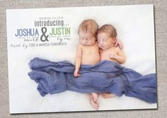 Twin Baby Announcement: Baby Boy Baby Girl by cardsetcetera