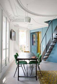 Fun green dining room chairs in this Parisian apartment. Béatrice, Paris 3ème