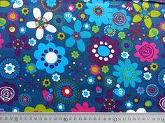 Stoff Blumen - BW Grosse Blumen, petrol/bunt - ein Designerstück von Wunderland-der-Stoffe bei DaWanda