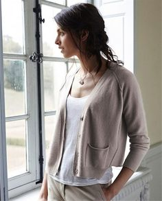 Poetry - Cashmere Dipped Front Cardigan - A cashmere cardigan thats beautifully finished with mother-of-pearl buttons, relaxed, raglan sleeves and two patch pockets. Generously styled with a very slightly tapered silhouette and slightly longer at the front.