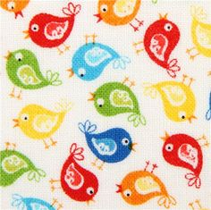 white mini bird fabric by Timeless Treasures USA