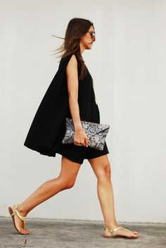 // (basics, black dress, oversize clutch, sandals)