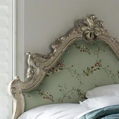 Silver Leaf Versailles Headboard, upholstered in Bengal Mist fabric from And So To Bed. #SilkRoute  http://www.andsotobed.co.uk/headboards/leafed-headboards/and-so-to-bed/versailles-silver-leaf-headboard.html