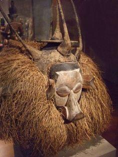 Initiation Mask Democratic Republic of Congo Yaka people 20th century wood raffia
