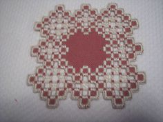 Hardanger Doily Norwegian Embroidery White and Plum