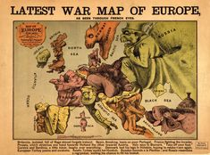 Latest War Map of Europe, as seen through French eyes. Very artistic map of War in Europe. Great job of making these images blend into their