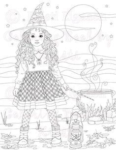 Halloween decor Party activity Adult coloring page ...