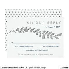 Color Editable Faux Silver Leaf Wedding RSVP Card