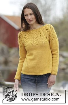 "Knitted DROPS jumper with A-shape, round yoke, cables and lace pattern in ""Nepal"". Size: S - XXXL."