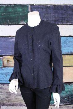 Ralph Lauren Romantic Boho Blue Floral Eyelet Lace Bell Sleeve Top Blouse 12 #RalphLauren #ButtonDownShirt #Casual