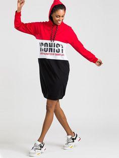 Značkové červené športové šaty s kapucňou Sports, Tops, Fashion, Hs Sports, Moda, Fashion Styles, Sport, Fashion Illustrations
