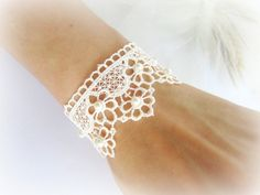 Lace bracelet embroidered flowers lace by MalinaCapricciosa