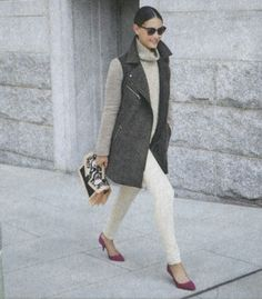 white denim, sweater, utility vest  // fall outfit