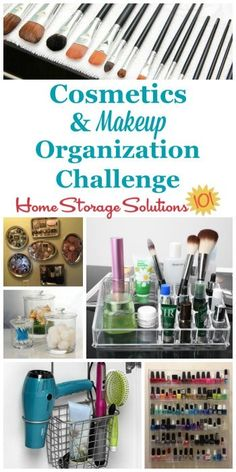 Here are step by step instructions for cosmetic and makeup organization, including for makeup, toiletries, nail polish and perfumes, and more {part of the 52 Week Organized Home Challenge on Home Storage Solutions Makeup Storage Solutions, Bathroom Storage Solutions, Makeup Storage Travel, Diy Storage, Storage Ideas, Creative Storage, Smart Storage, Closet Storage, Bedroom Storage