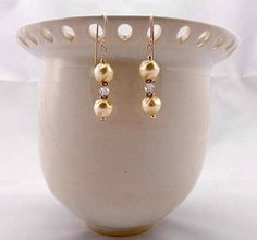 Beaded Earrings  Gift Idea  Dimple Pearls by kitscreations on Etsy