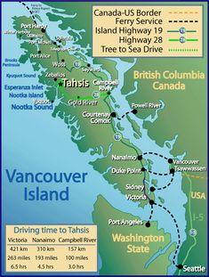 Vancouver Island, British Columbia, Canada.  Map