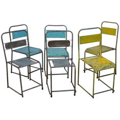 Metal Cafe Chairs, c 1940 | From a unique collection of antique and modern side chairs at http://www.1stdibs.com/furniture/seating/side-chairs/
