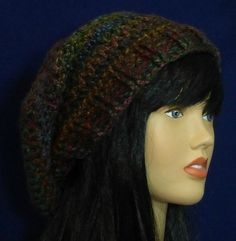 Crocheted slouch hat brown gold teal & purple by WearablesByAC  $25  free shipping