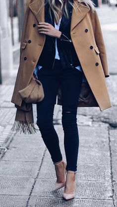 #fall #outfits  brown leather trench coat