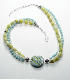 Triple Strand Gemstone Necklace with Large Lentil Lampwork Glass Focal Bead