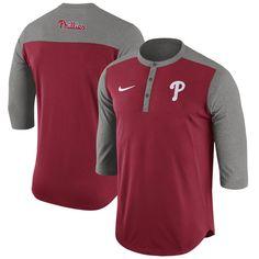 Philadelphia Phillies Nike Dry Henley 3/4-Sleeve T-Shirt - Red