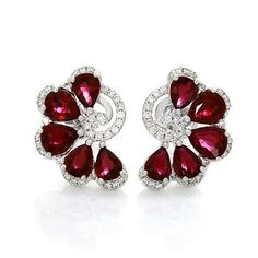 Gem Stone King 925 Sterling Silver Red Created Ruby and White Lab Grown Diamond Earrings For Women Ct Oval – Fine Jewelry & Collectibles Ruby Jewelry, Ruby Earrings, High Jewelry, Sterling Silver Jewelry, Diamond Jewelry, Diamond Earrings, Jewelry Accessories, Jewelry Design, Lotus Jewelry