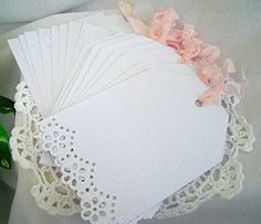 Vintage Inspired, Doily Paper Lace Note Cards, Birthday, Friendship, Tea, Shabby Chic, Wedding,  Embossed 8 Card Set with Embossed Envelopes. $7.99 USD, via Etsy.