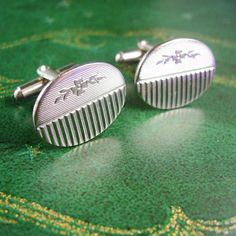 Silver Floral Cufflinks Vintage Wedding by NeatstuffAntiques