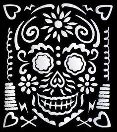 Dia de Muertos photo by Alex. Sugar Skull Art, Sugar Skulls, Weird Tattoos, Skull Painting, Linocut Prints, Day Of The Dead, Black Canvas, Magick, Folk Art