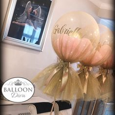 Glitter Tulle covered Personalised Balloons