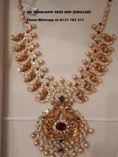 Peacock mango design antique gold medium length nakshi haram studded with rubies,emeralds, cz stones and pearls by sri mahalakshmi gems and jewellers.For details please reach out - sri mahalakshmi gems and jewellers. Indian Wedding Jewelry, Indian Jewelry, Bridal Jewelry, Indian Necklace, Ruby Jewelry, Chain Jewelry, Indian Bridal, Jewelry Sets, Jewelry Making