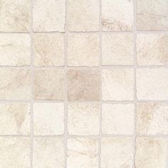 Daltile Portenza Bianco Ghiaccio 13-3/4 in. x 13-3/4 in. x 8 mm Porcelain Mosaic Floor and Wall Tile, Beige/Ivory