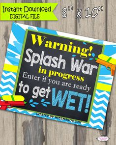 Water Squirt Gun Party Welcome Sign INSTANT by M2MPartyDesigns