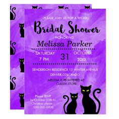Black Cats Witchy Halloween Bridal Shower Party Card - bridal shower gifts ideas wedding bride