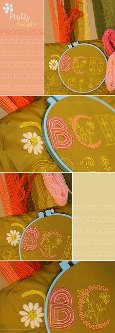 Pretty Embroidery Progress via Danielle Thompson