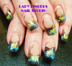 #nails #nailart #gelnails #gelpolish #butterflies #fimo #handpainting #nailswag #nailporn #trendynails #nailideas #art #manicure #dots #spring