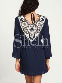 Blue Long Sleeve Hollow Dress 17.99