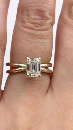 Emerald Shape Engagement Rings, Engagement Rings Couple, Emerald Cut Rings, Beautiful Engagement Rings, Emerald Cut Diamonds, Engagement Ring Settings, Diamond Rings, Diamond Wedding Bands, Wedding Rings