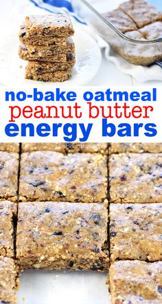 No-Bake Oatmeal Peanut Butter Energy Bars quickly come together with wholesome i. No-Bake Oatmeal Peanut Butter Energy Bars quickly come together with wholesome ingredients like oats, nuts, chia see Oatmeal Bars Healthy, No Bake Oatmeal Bars, Breakfast Bars Healthy, Oatmeal Breakfast Bars, Healthy Bars, No Bake Bars, Granola Protein Bars, Chia Seed Granola Bars, No Bake Protein Bars
