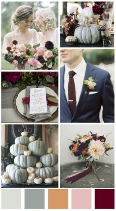Fall wedding design board - Fall Wedding color scheme - popular wedding colors