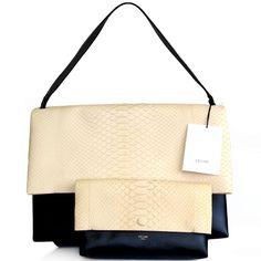 Celine All Soft leather & cream python shoulder bag