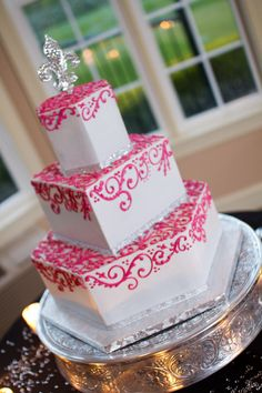 Silver & pink wedding cake designed by me! -Megan Young