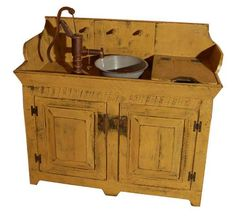 rustic wood sink | Country Rustic Dry Sink Cabinet Combo-Country Rustic Primitive ...